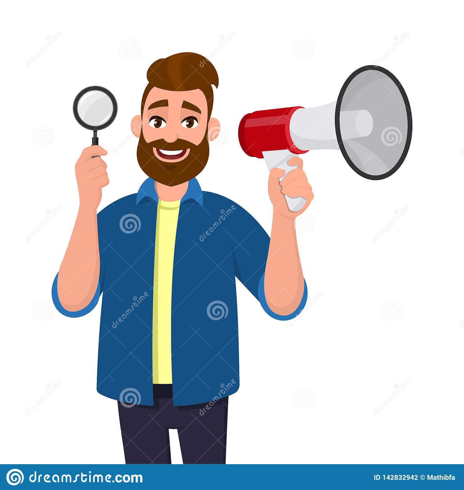 Exibição farpada feliz do homem novo/altifalante lupa guardar e megafone/para anunciar a notícia Busca, achado, descoberta