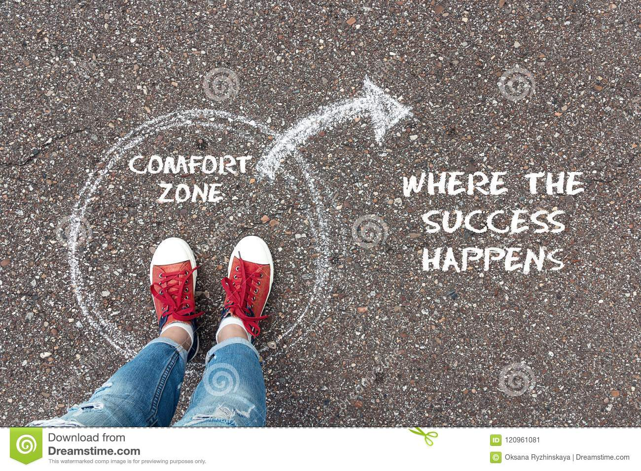 Exit from the comfort zone concept. Feet standing inside circle