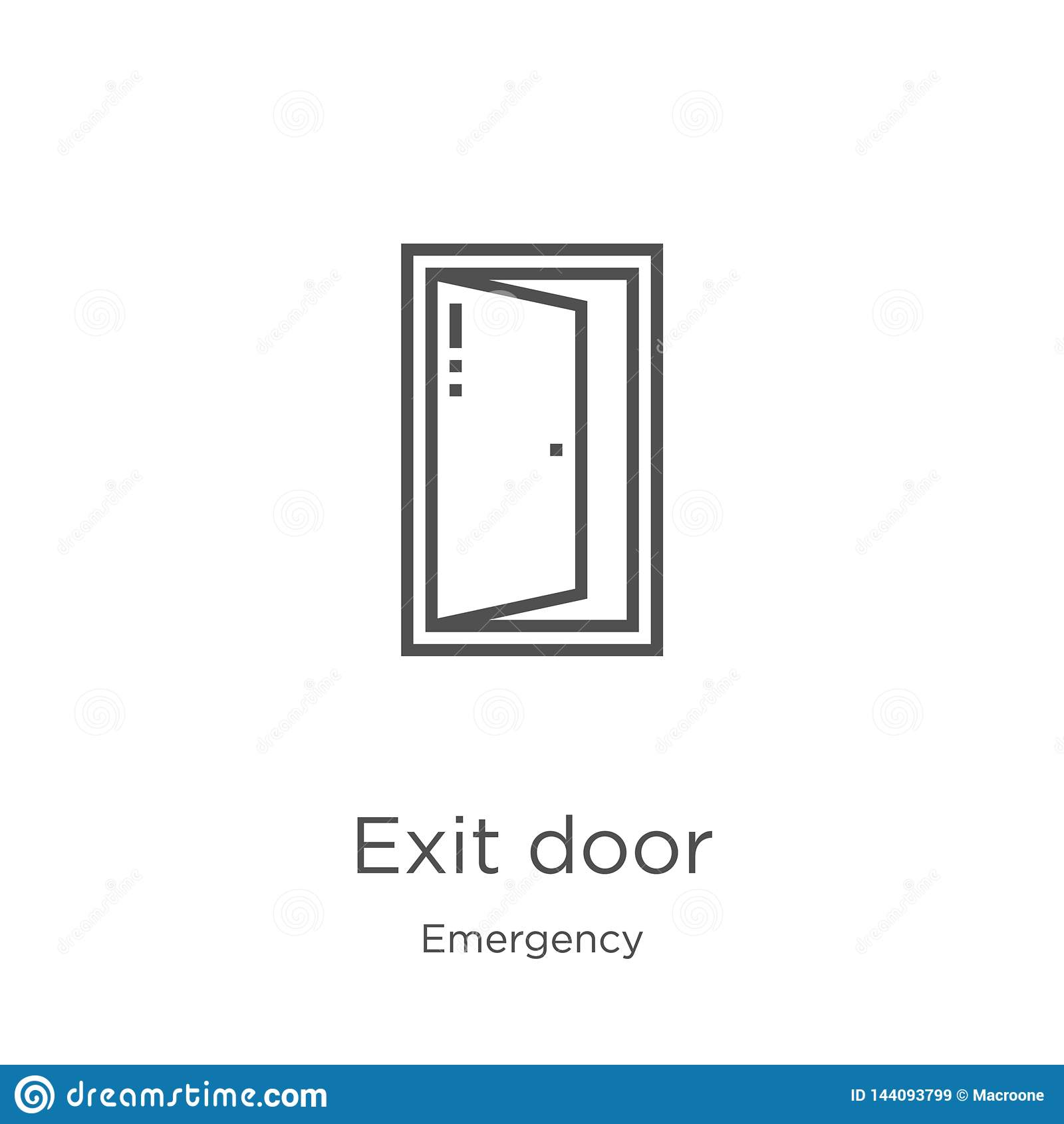 exit door icon vector from emergency collection. Thin line exit door outline icon vector illustration. Outline, thin line exit