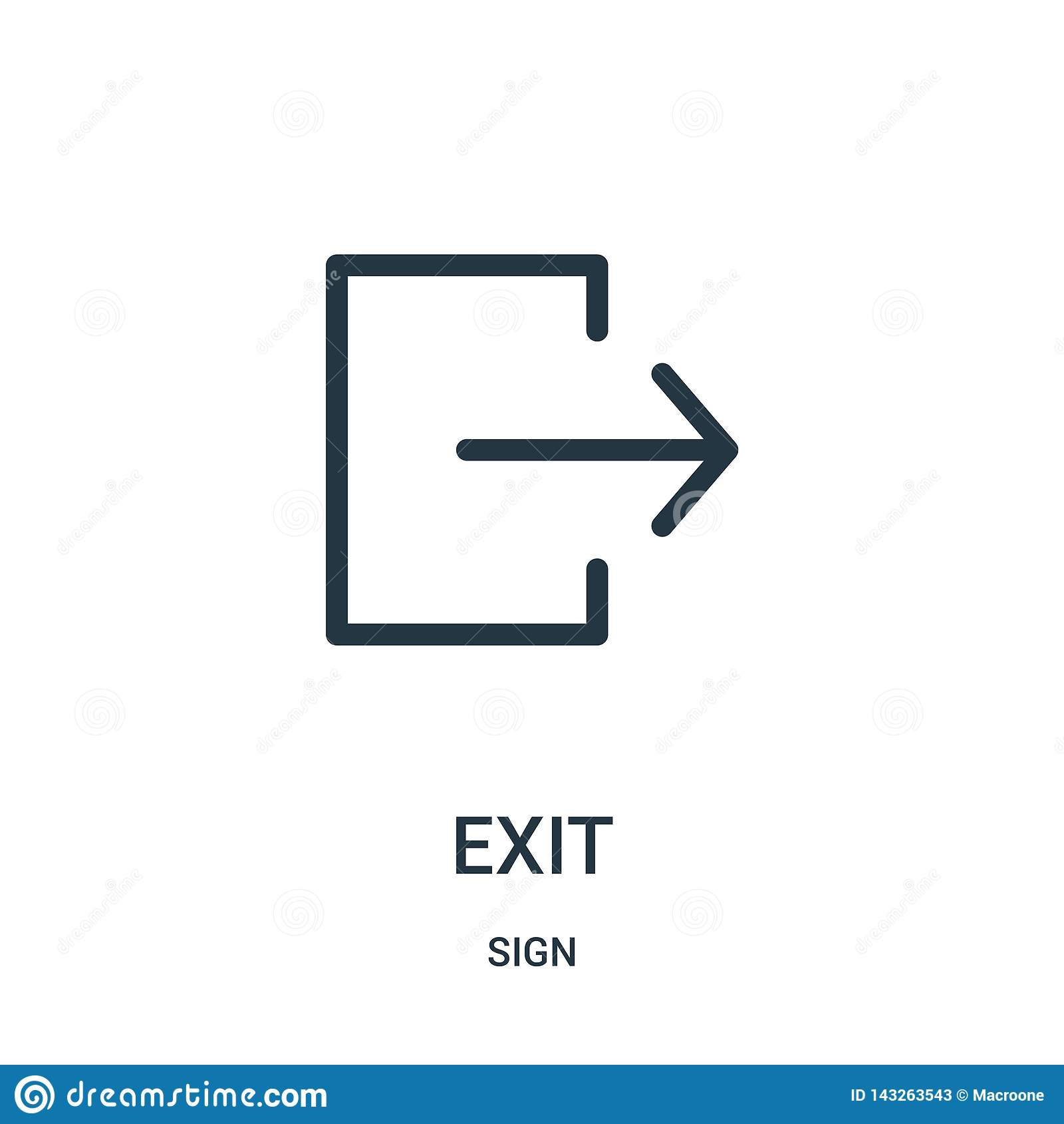 exit icon vector from sign collection. Thin line exit outline icon vector illustration