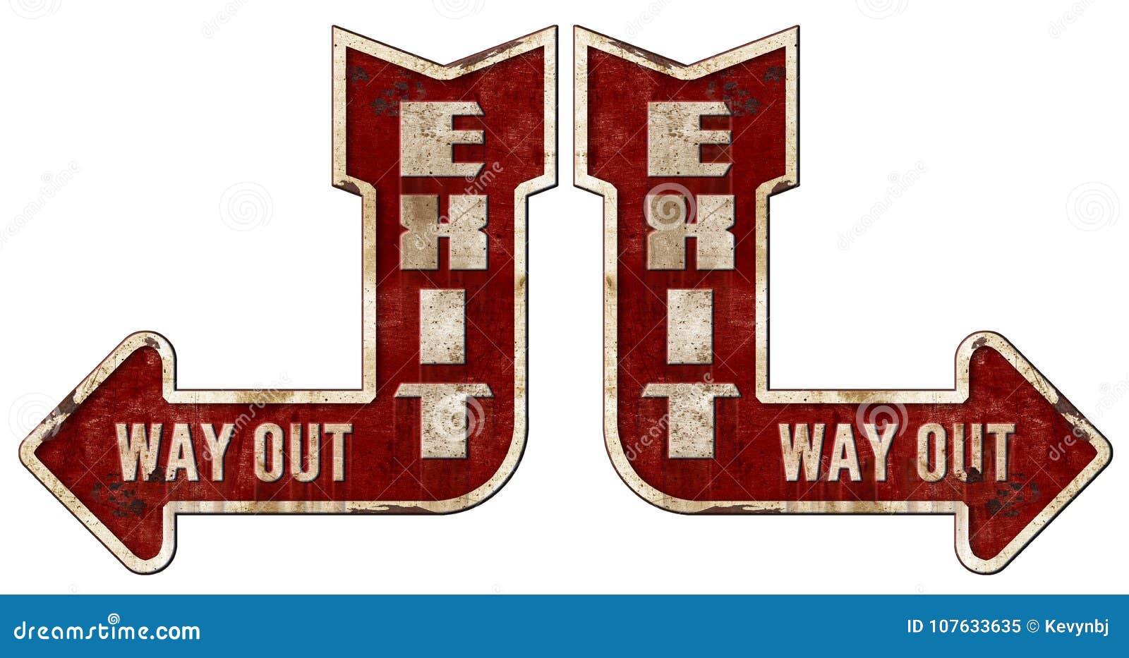 Exit Sign Arrow Grunge