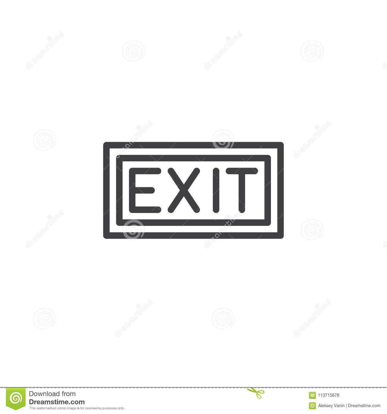 Exit Sign Outline Icon Stock Vector Illustration Of Icon 113715678