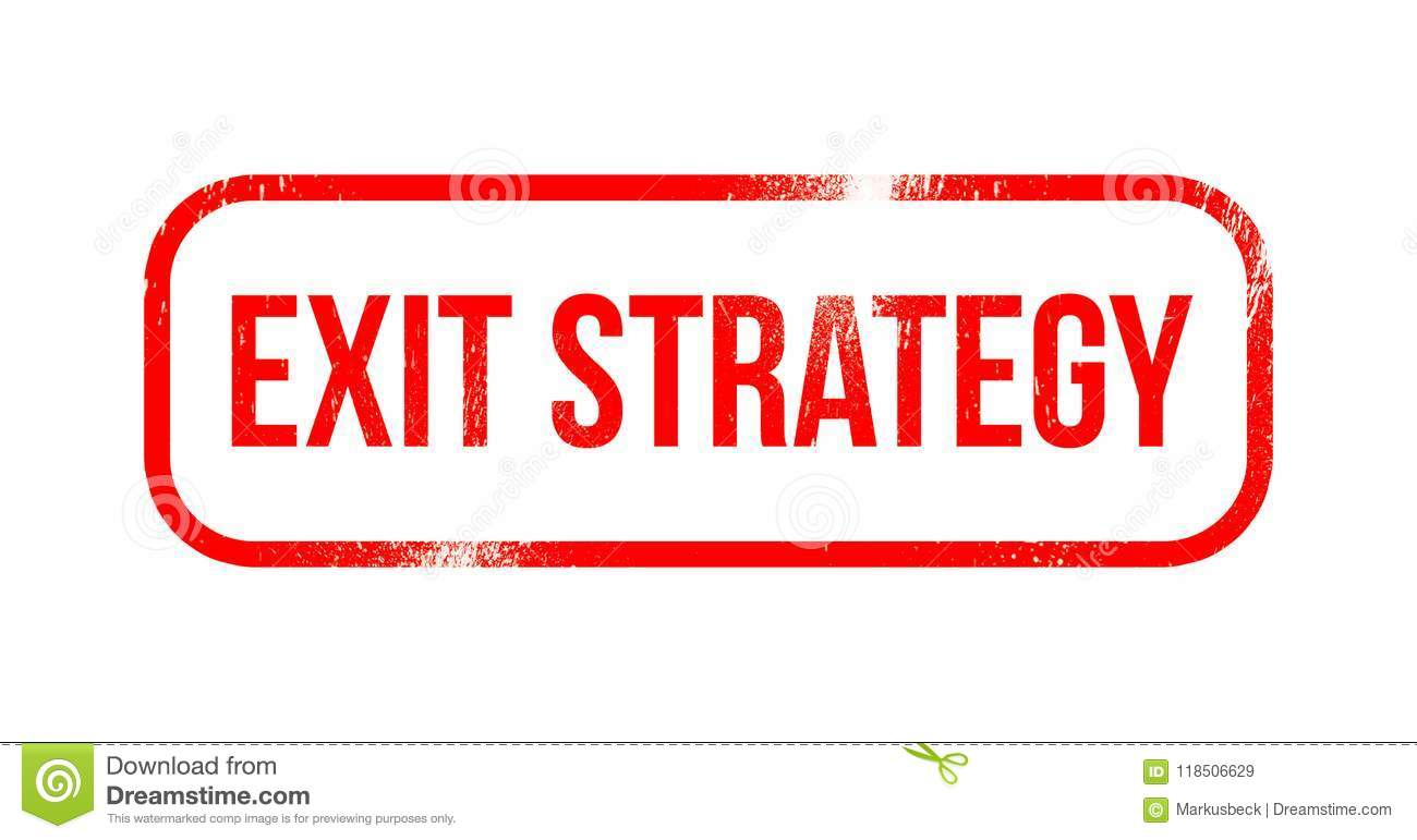 Exit strategy - red grunge rubber, stamp