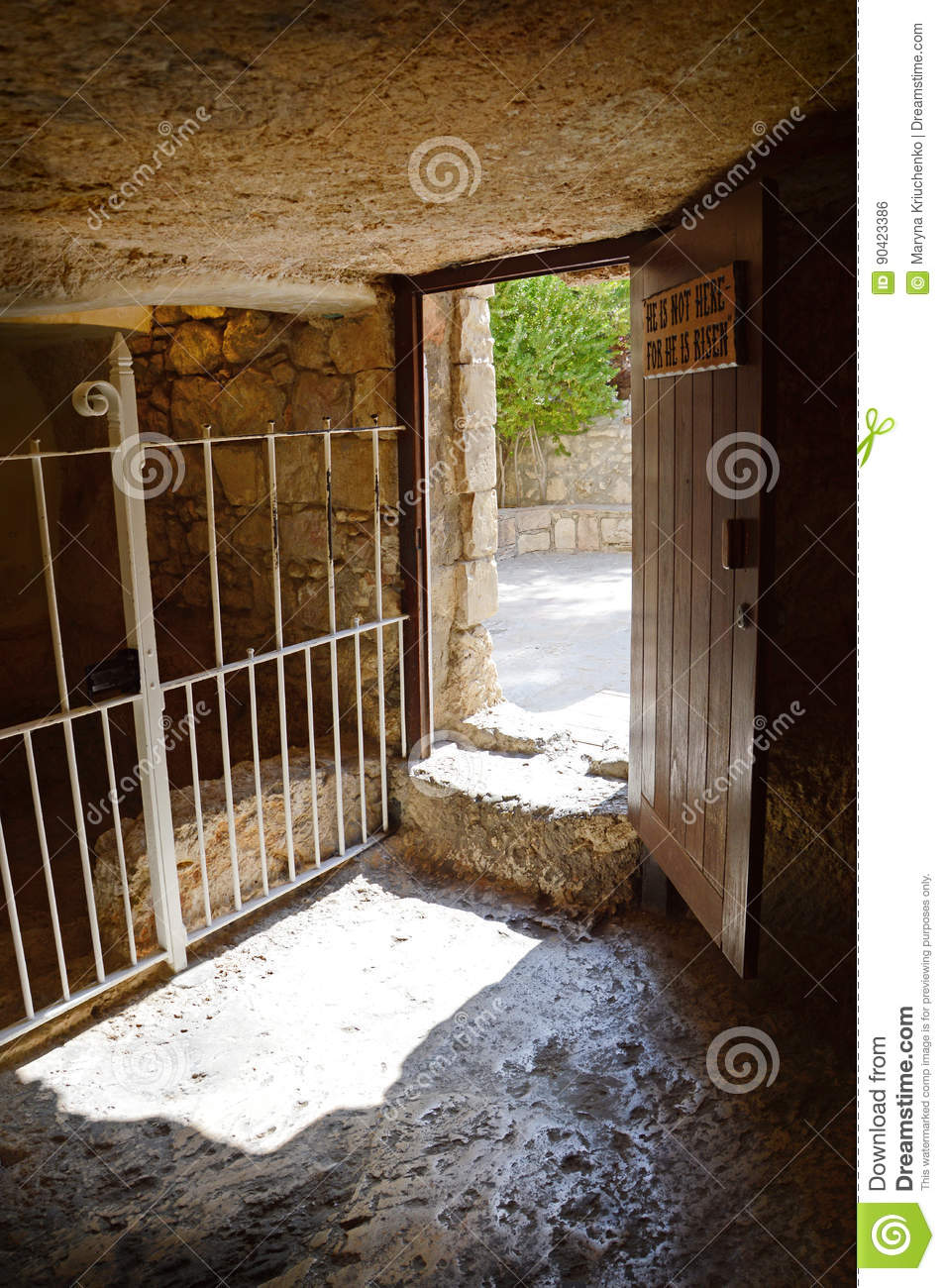 Exit from the tomb of Christ
