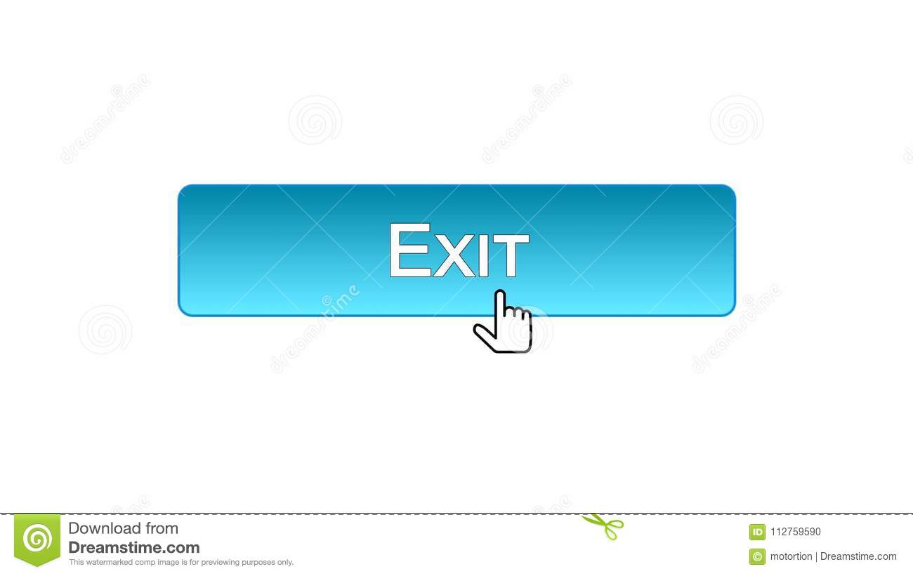 Exit Web Interface Button Clicked With Mouse Cursor, Blue