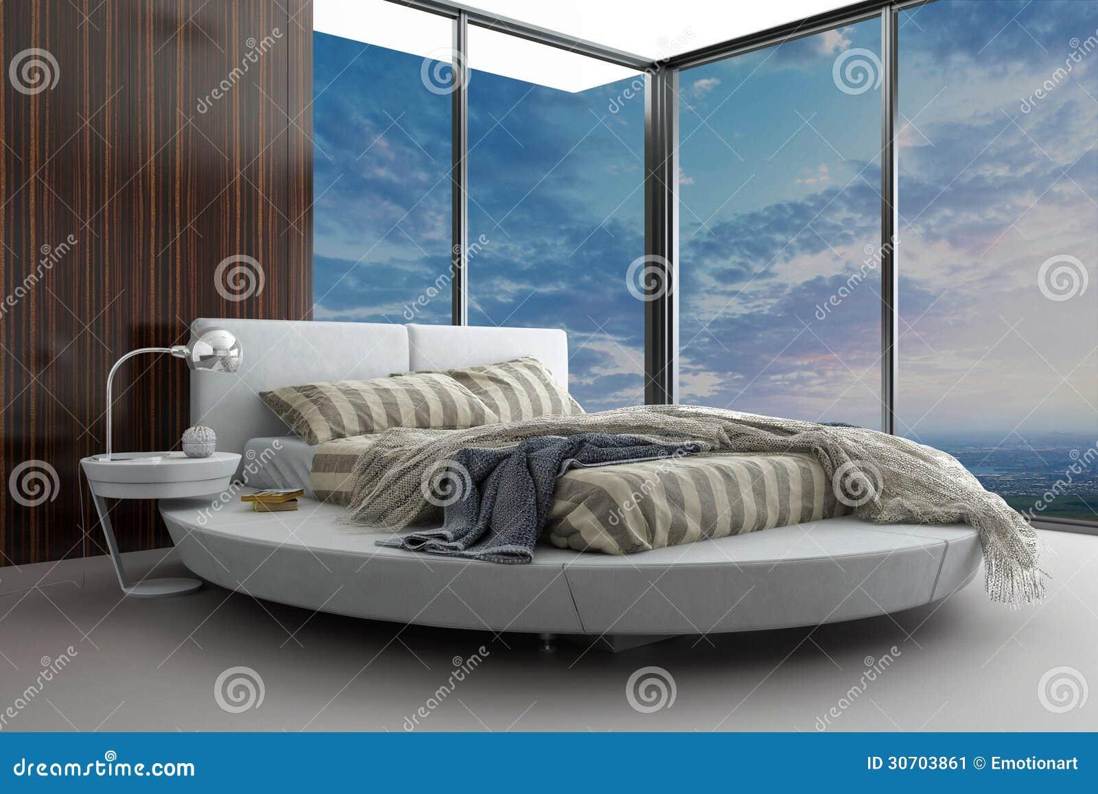 Exklusives Schlafzimmer Des Modernen Entwurfs Mit Vogelperspektive