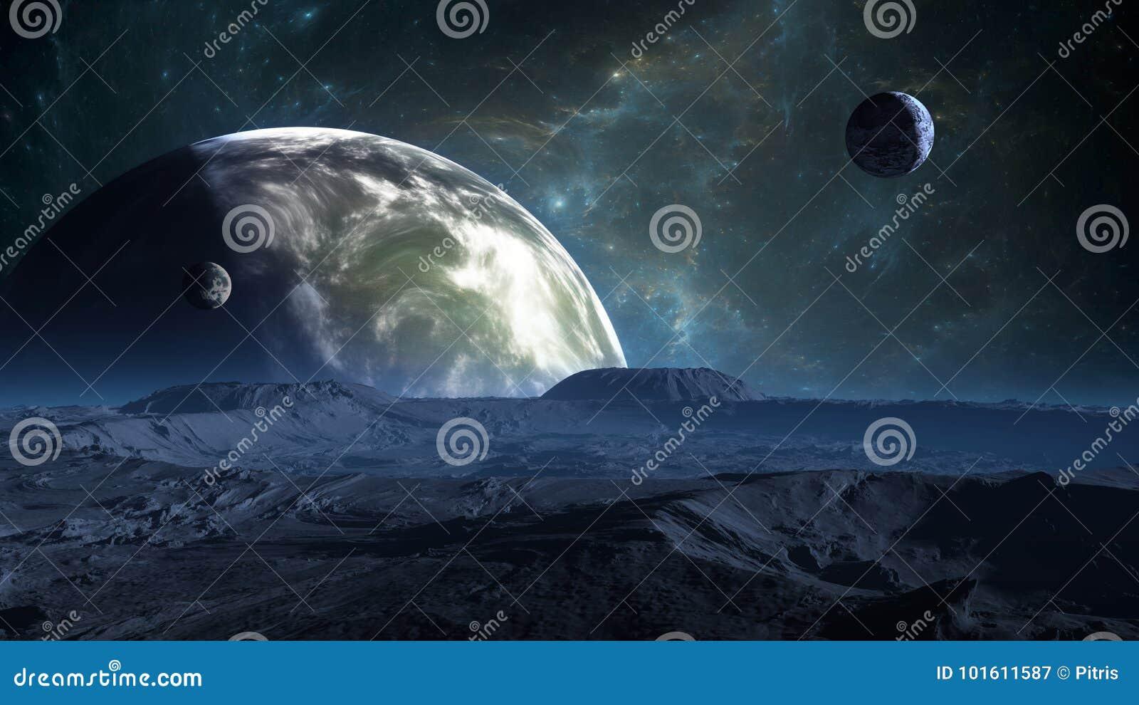 Exoplanet oder Extrasolar Planet mit Atmosphäre und Mond