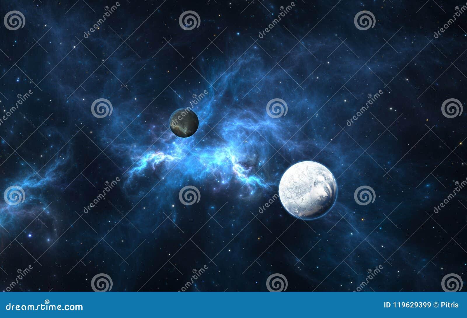 Exoplanets或太阳系行星与星在星云背景