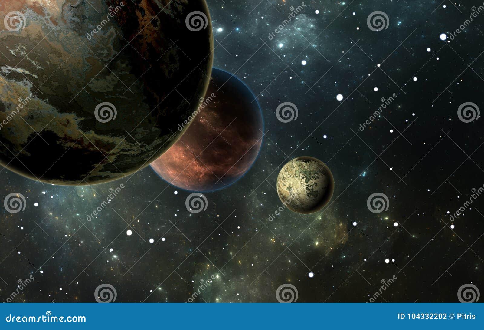 Exoplanets ou planetas Extrasolar com as estrelas na nebulosa do fundo
