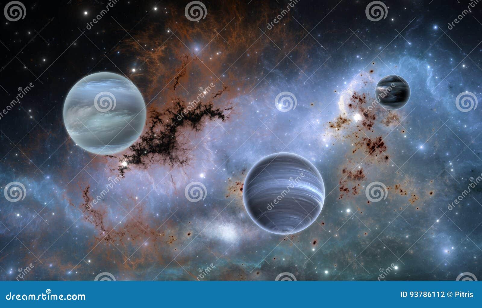 Exoplanets ou planetas Extrasolar na nebulosa do fundo