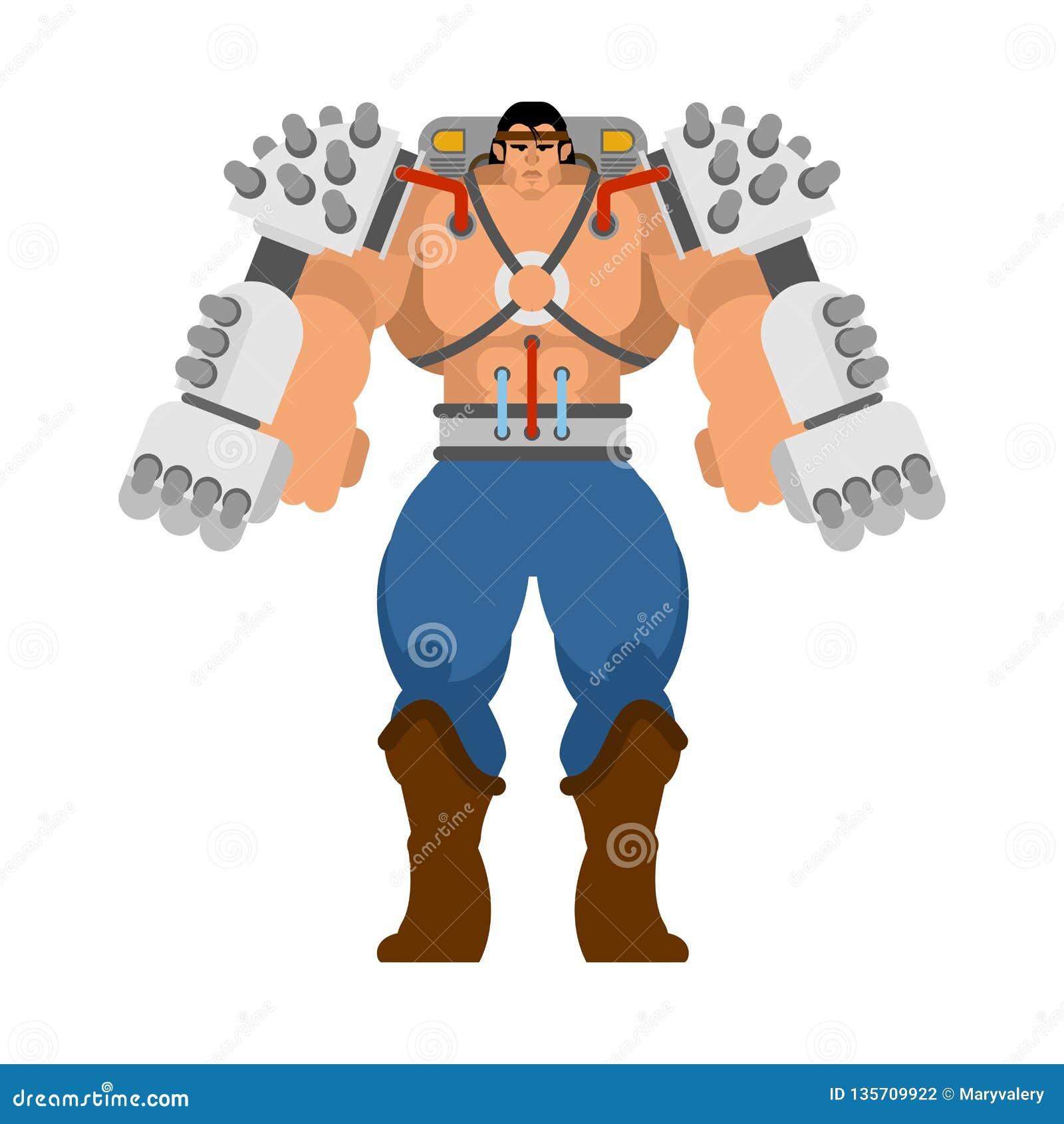 Exoskeleton mechanical technology robotic skeleton. Iron suit robot. Metallic clothing cyborg. Vector illustration