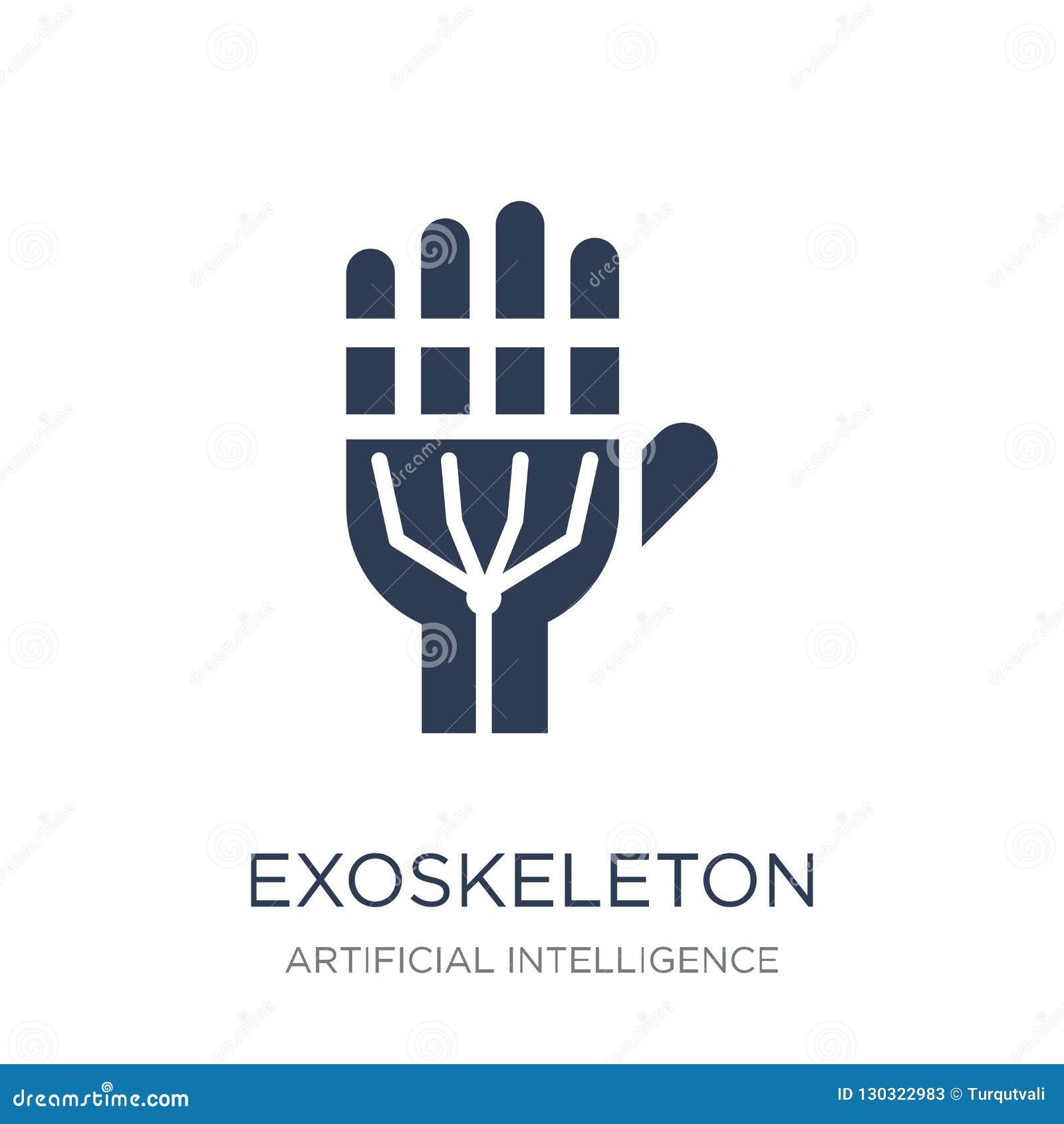 Exoskeleton pictogram In vlak vectorexoskeleton pictogram op witte B