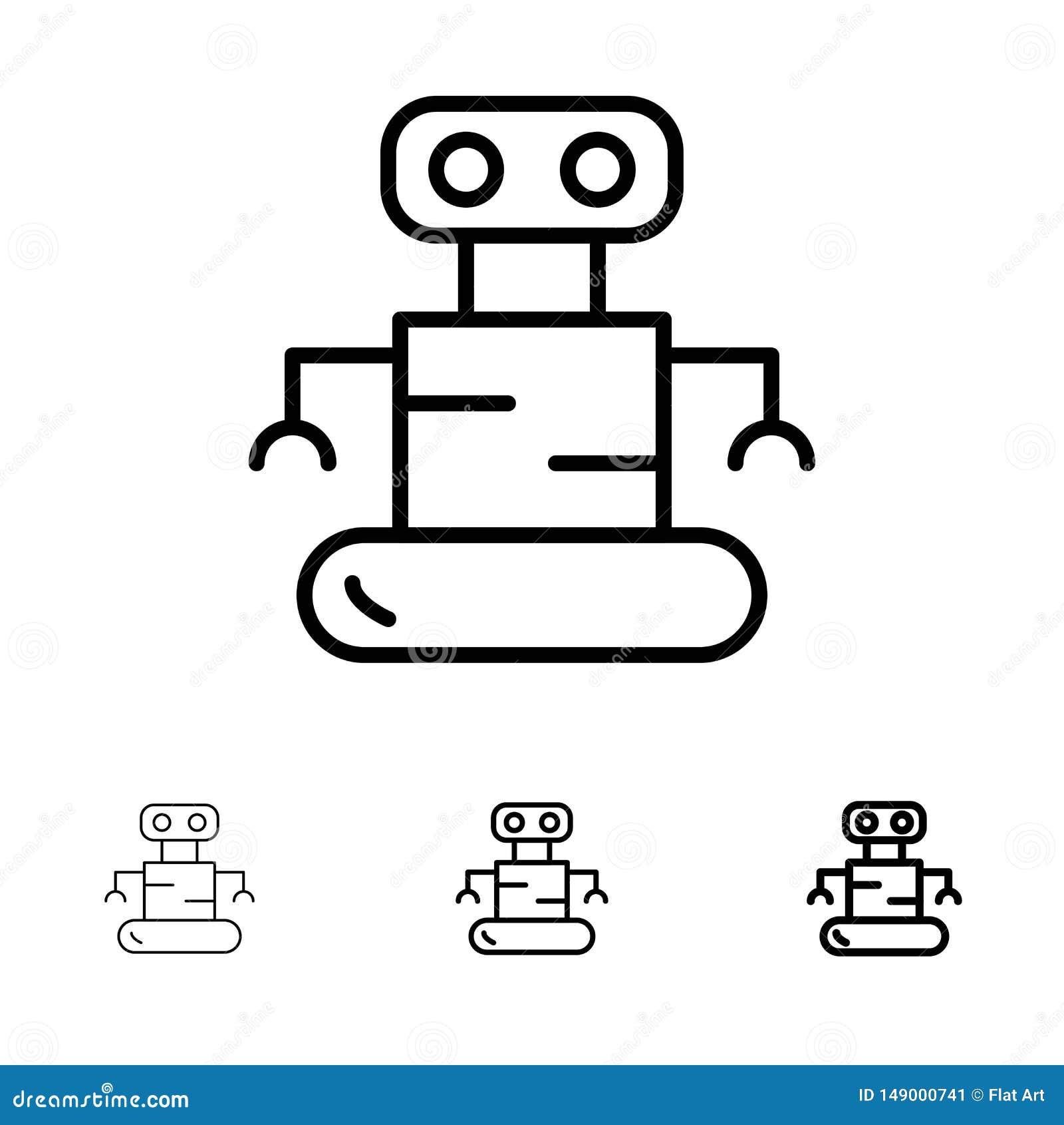 Exoskeleton, Robot, de Ruimte Gewaagde en dunne zwarte reeks van het lijnpictogram