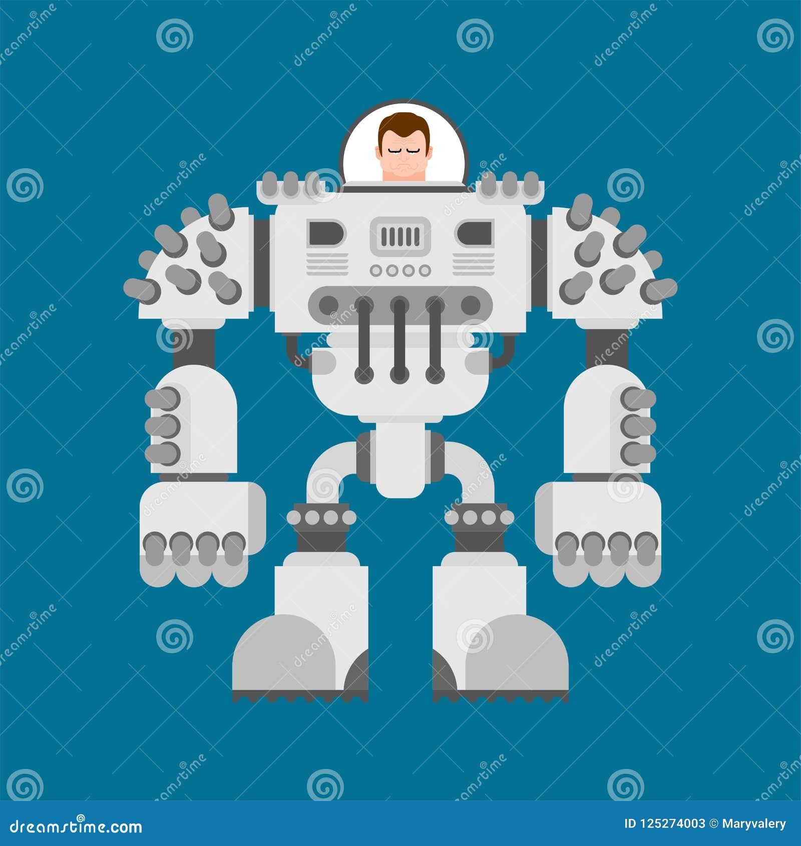 Exoskeleton van de slagrobot De toekomst van de Cyborgstrijder Vectorillustra