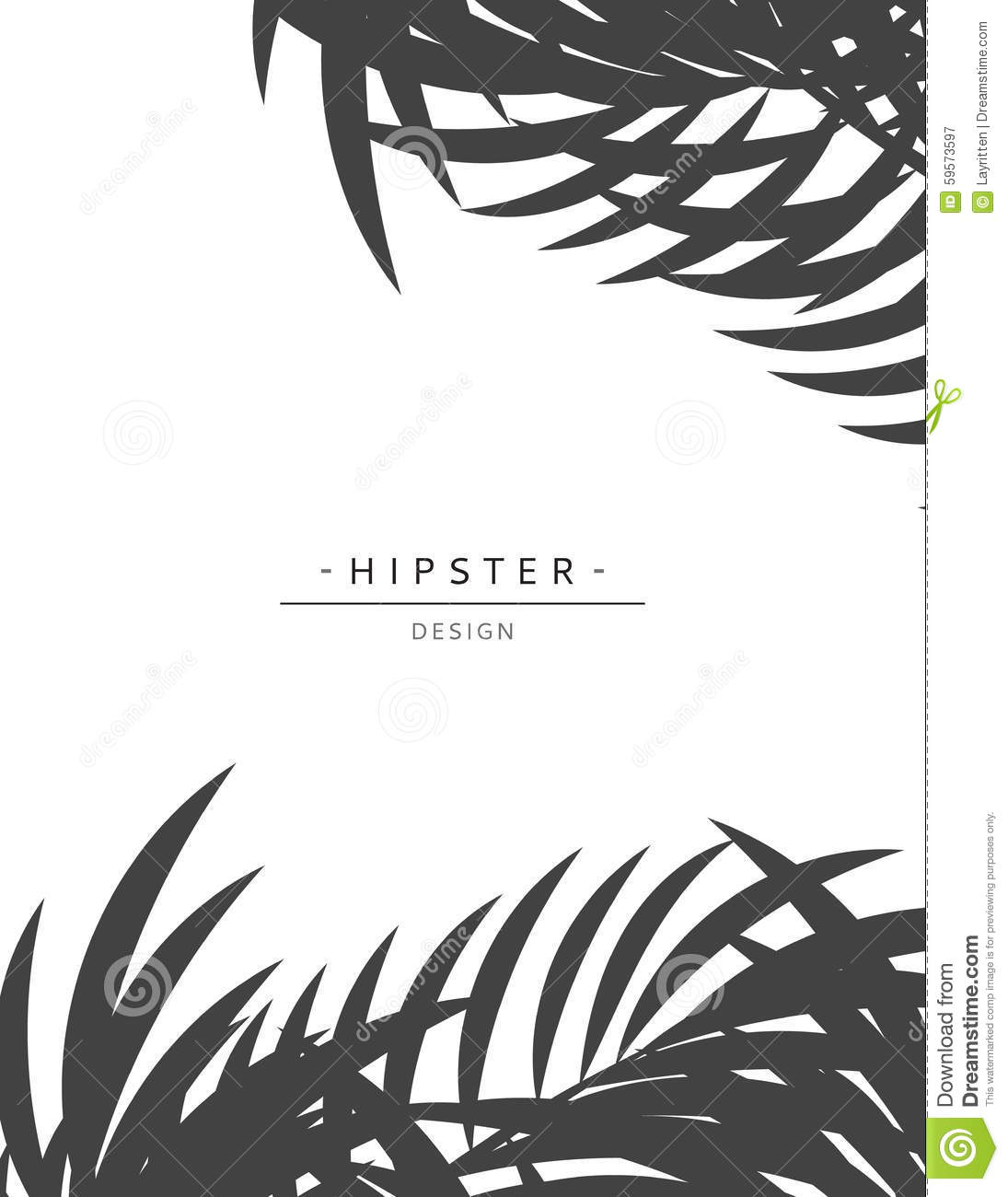 Exotic Background With Gray Palm Leave For Design Hipster Style