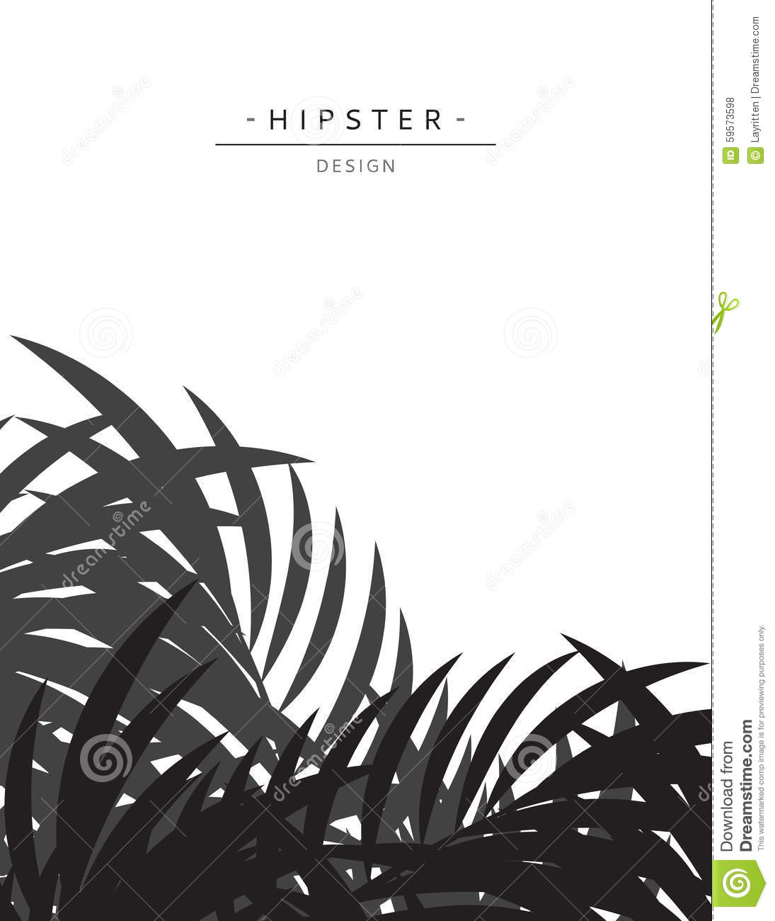 Exotic Background With Gray Palm Leave For Design. Hipster Style Stock ...