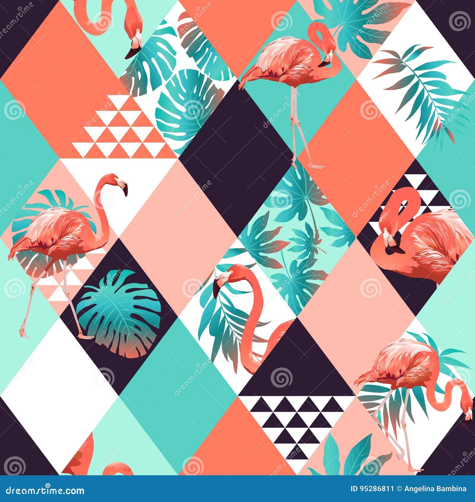 Trendy Wallpaper: Exotic Beach Trendy Seamless Pattern, Patchwork
