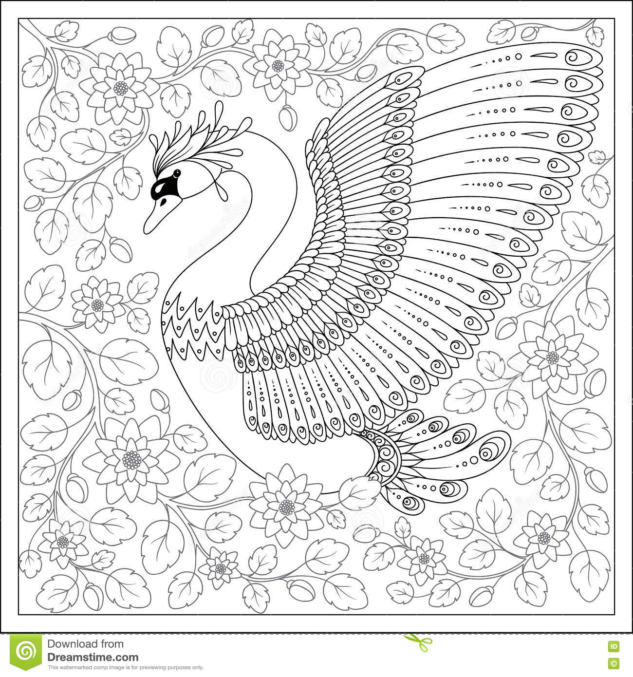 Drawing Zentangle Swan For Coloring Page Shirt Design