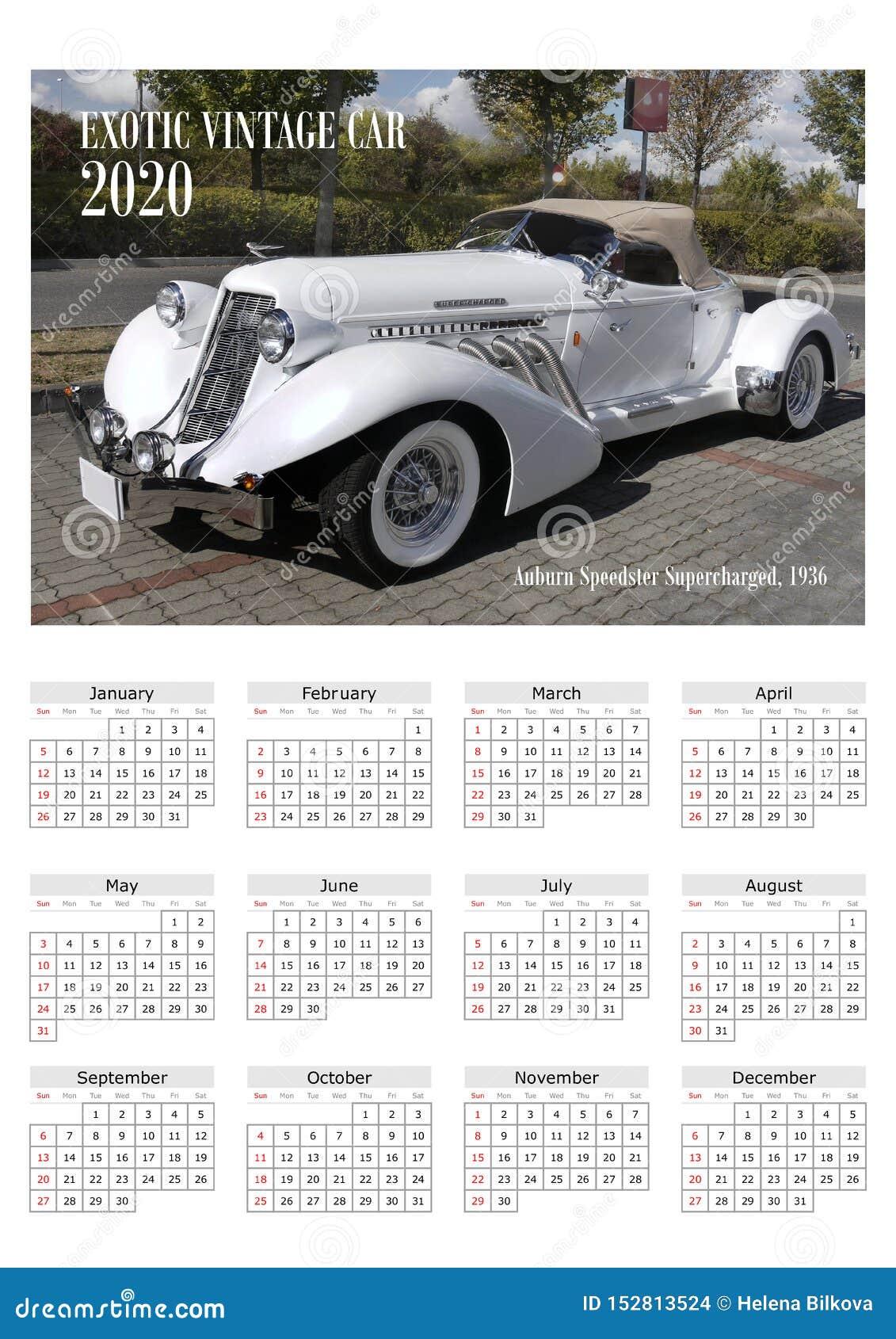 Calendar 2020 Exotic Cars Stock Photo Image Of Wallcalendar