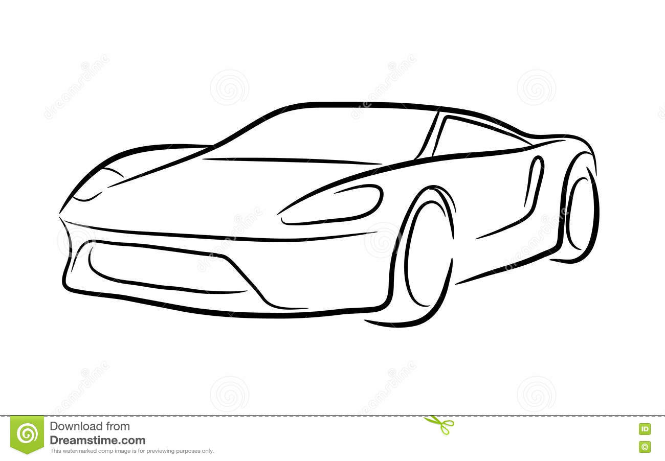 Sports car outline drawing