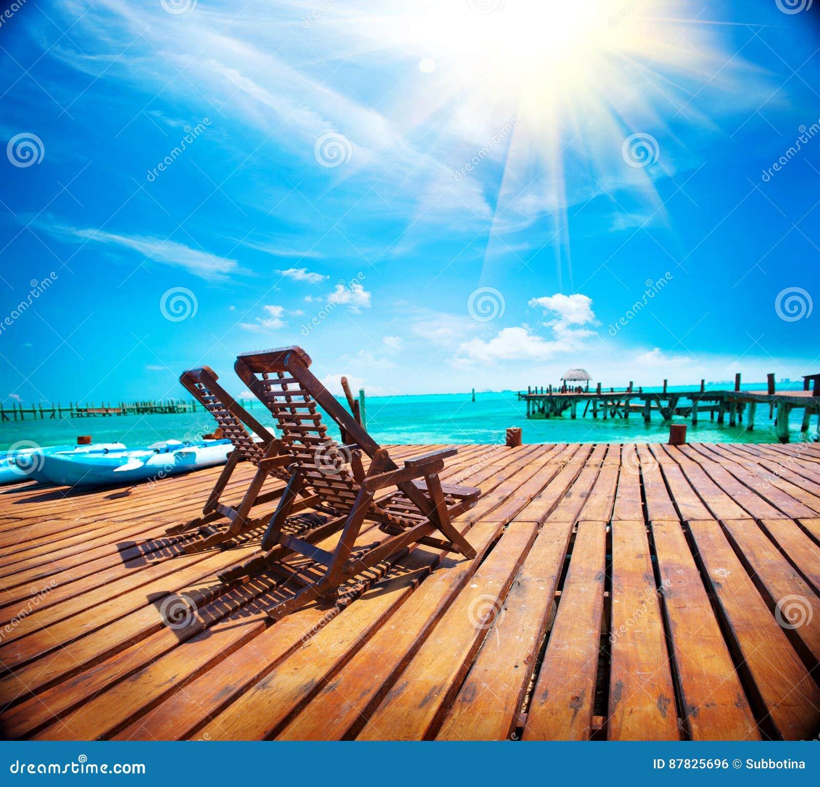 Exotic Caribbean Paradise. Tropical Beach Resort Stock