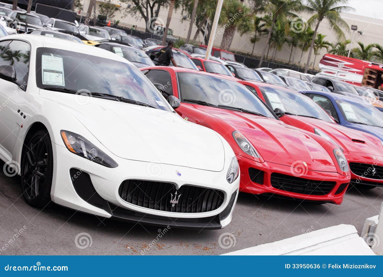 exotic cars at prestige imports editorial photo image 33950636. Black Bedroom Furniture Sets. Home Design Ideas