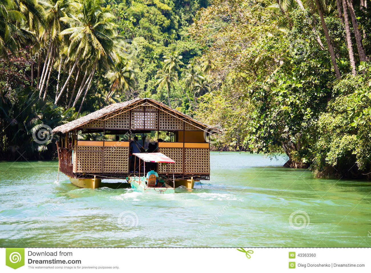 Exotic Cruise Boat With Tourists On A Jungle River. Island Bohol, Philippines. Editorial Image ...
