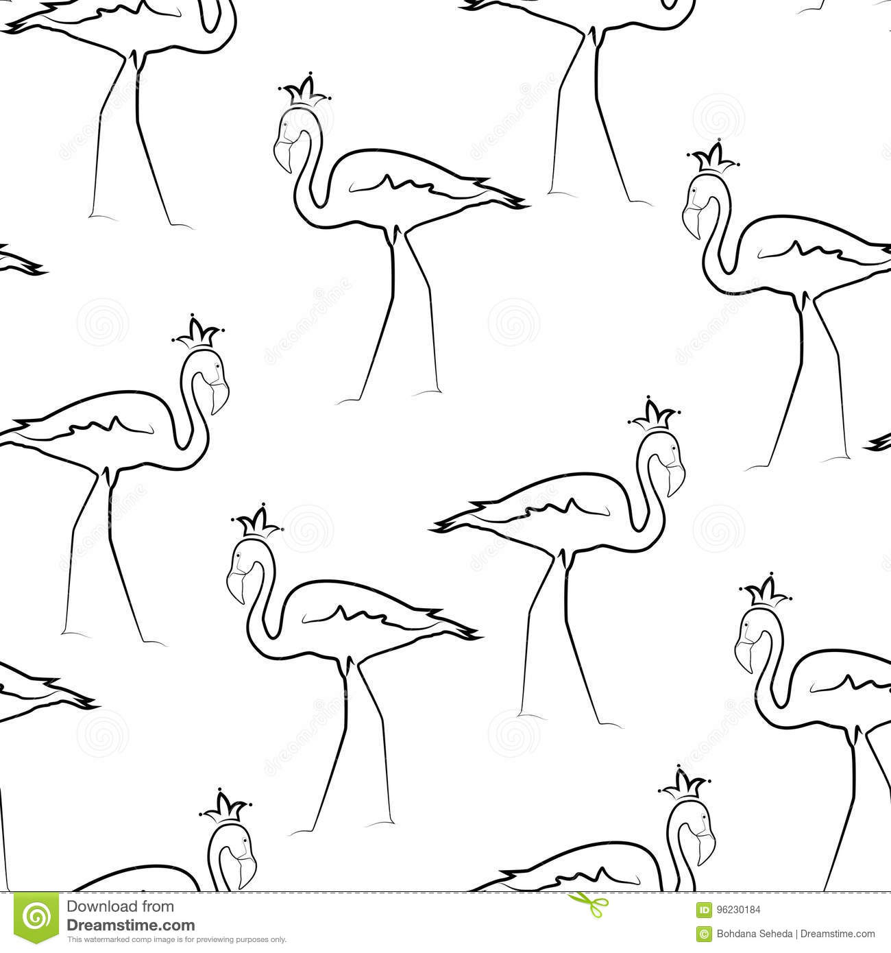 Exotic Flamingo Birds Crown Line Drawing Pattern Stock Vector - Image 96230184