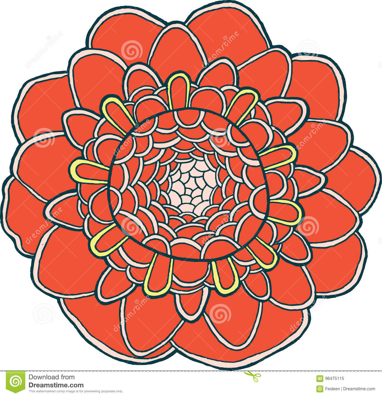 Exotic Flower Mandala Vector Isolated Colorful Red Element Stock ...