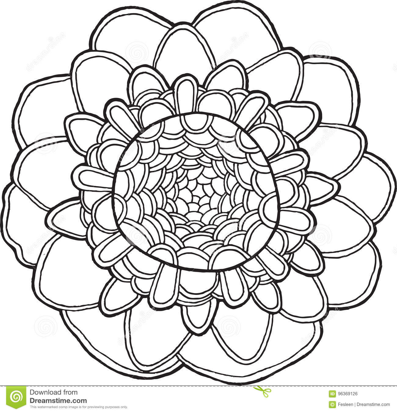 exotic flower mandala vector isolated element tropical floral detailed coloring page adults hand drawn tribal boho ethnic