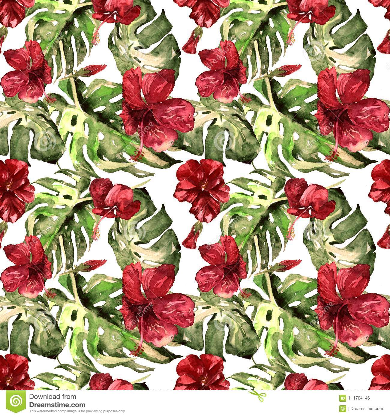 Exotic flowers watercolor seamless pattern stock photo image of exotic flowers hawaiian flowers watercolor seamless pattern hand painted illustration of tropical leaves and flowersntropic summer motif with hawaiian izmirmasajfo