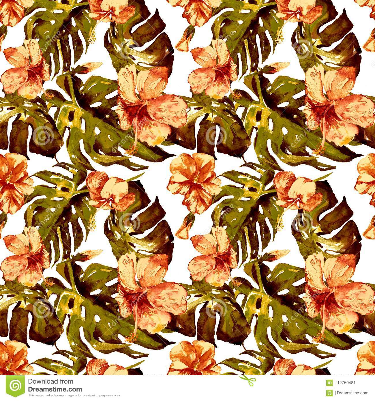 Exotic flowers watercolor seamless pattern stock illustration royalty free stock photo izmirmasajfo Images