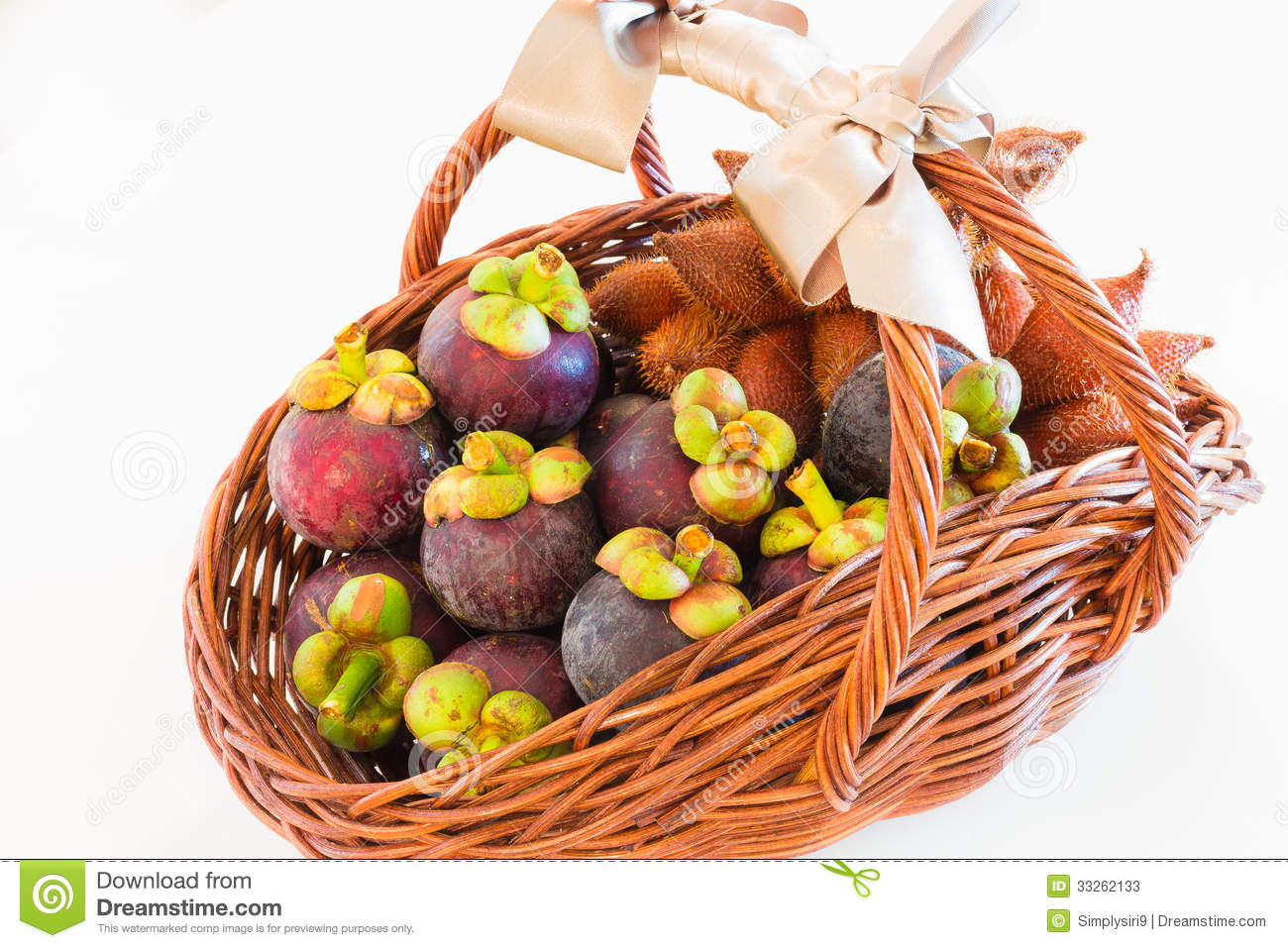 An Exotic Fruit Basket Of Mangosteen And Zalacca Perfect