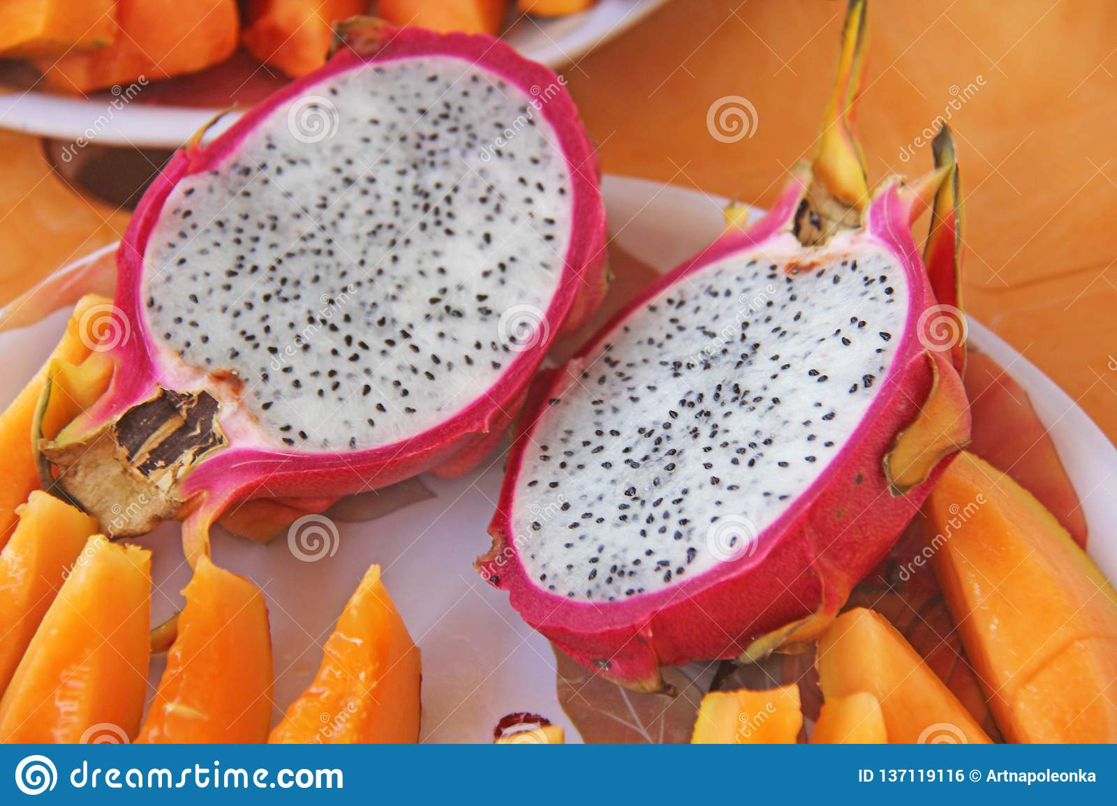 The exotic fruit of the dragon`s eyes. Pink dragon eye and white flesh