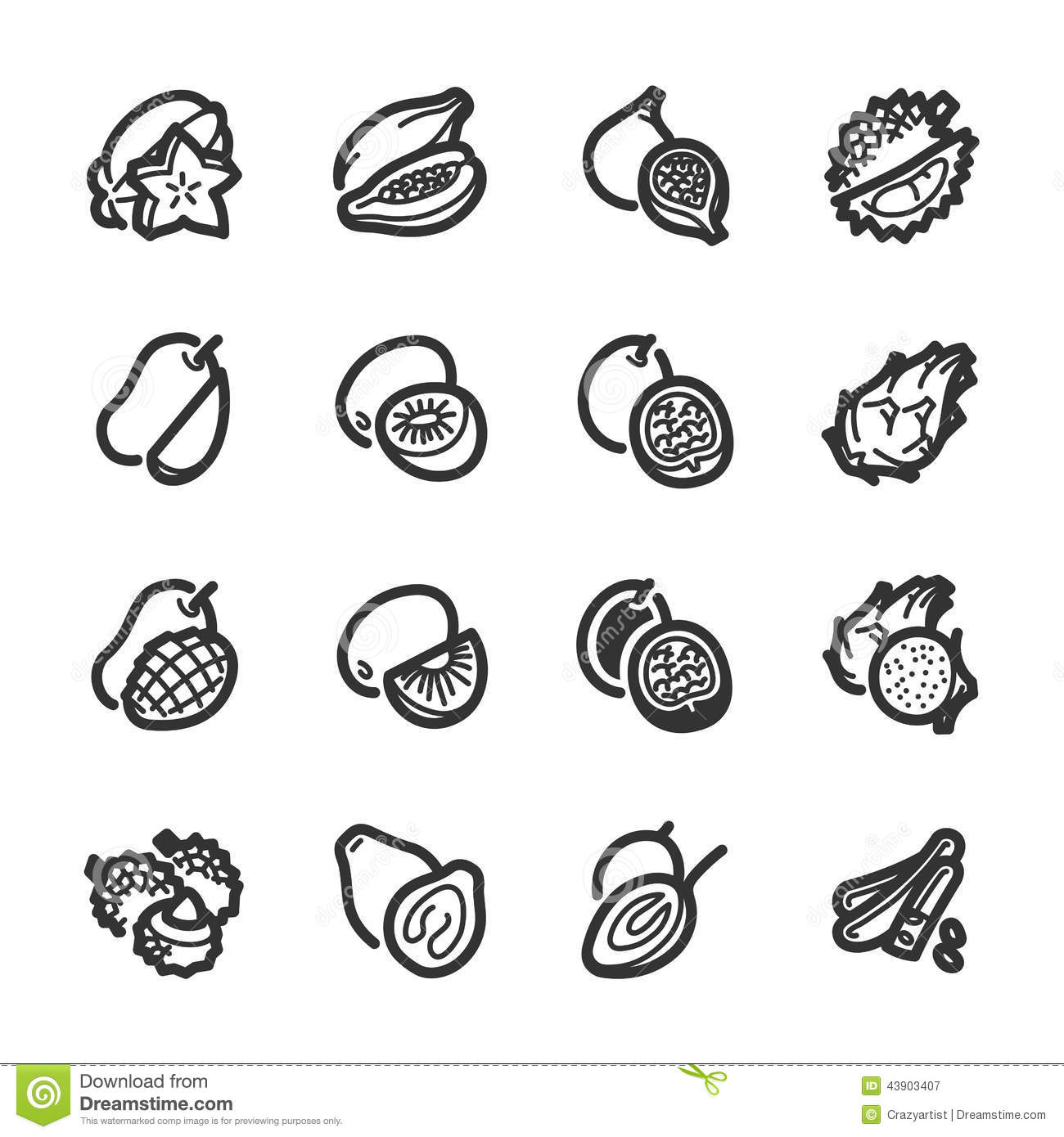 Exotic fruits icons – Bazza series