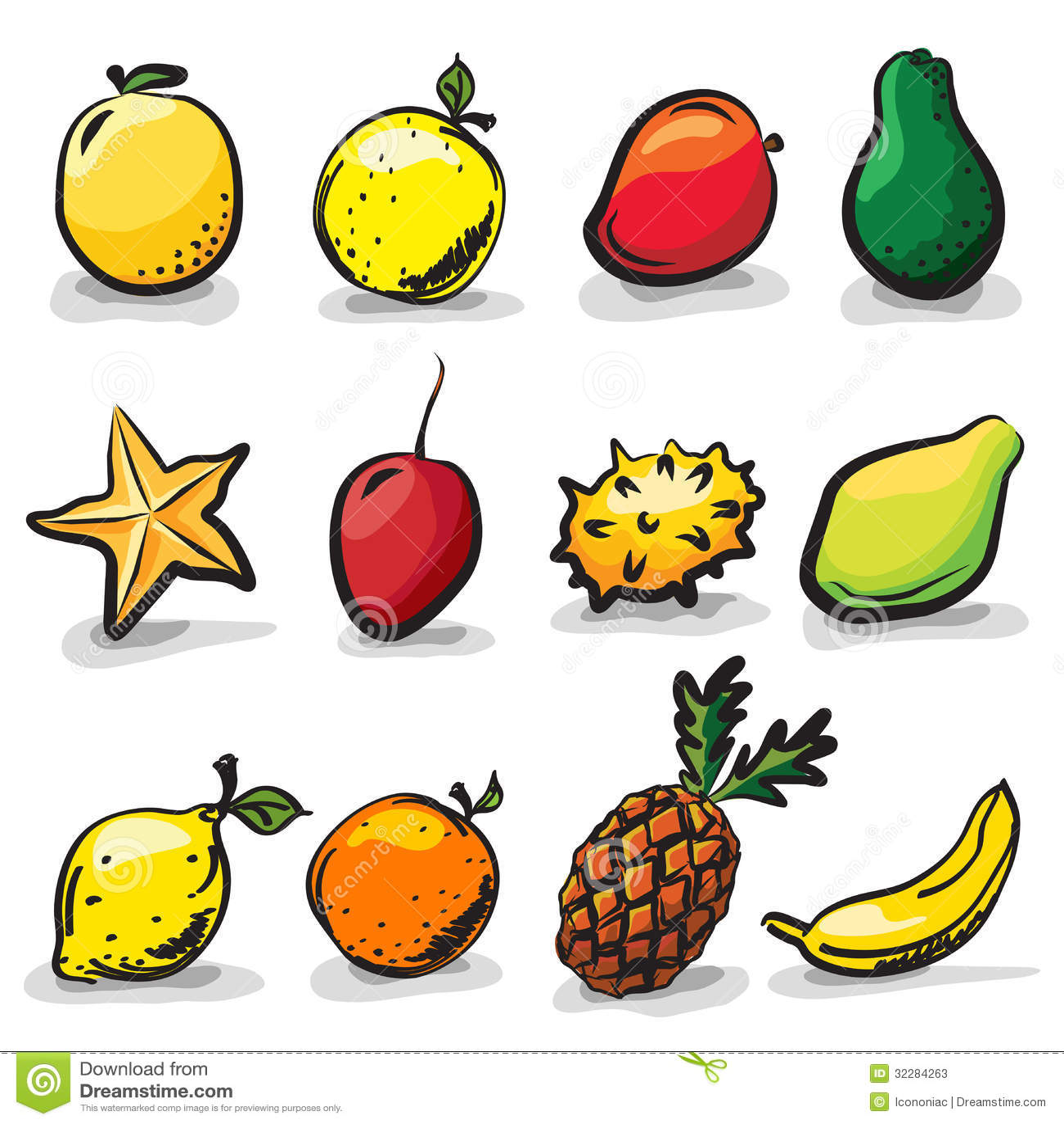 exotic fruits sketch drawing set
