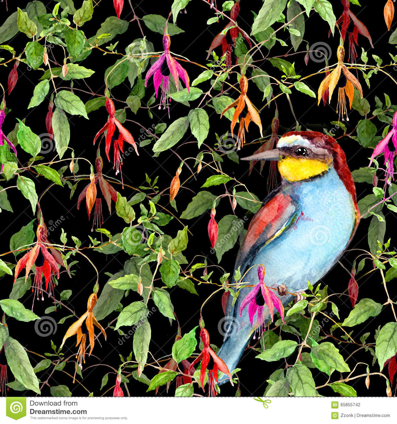 Flowers Made Black Brids: Exotic Fuchsia Flowers And Jungle Bird On Black Background