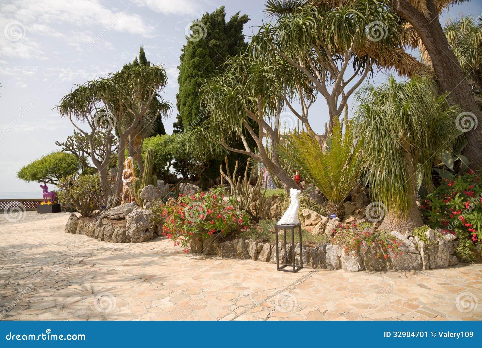 the exotic garden of monaco stock image image 32904701. Black Bedroom Furniture Sets. Home Design Ideas