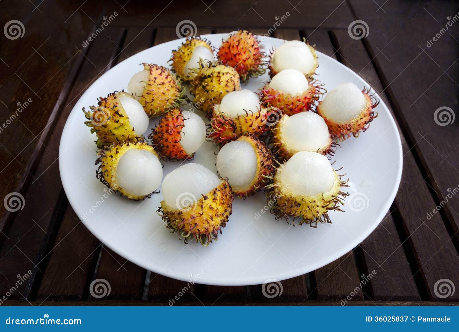exotic hairy asian rambutan fruit stock image - image of nature