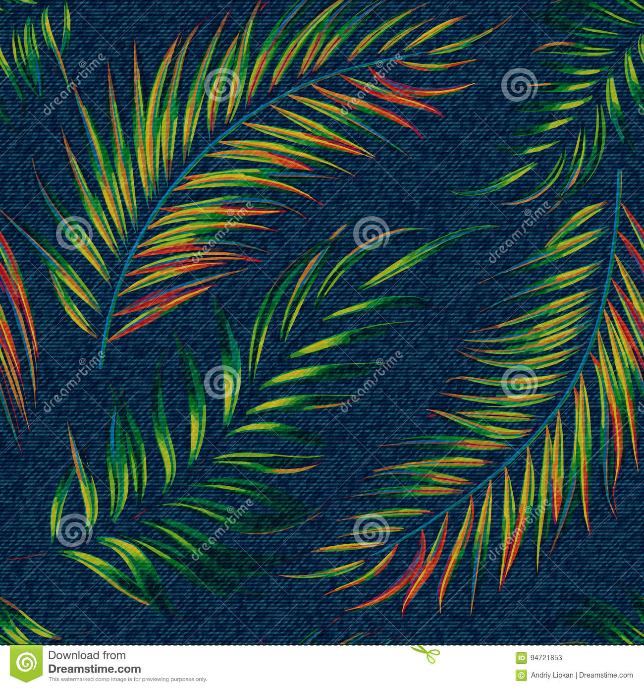 Exotic Leaf Seamless Print On Denim Backdrop Bright Palm Leaves