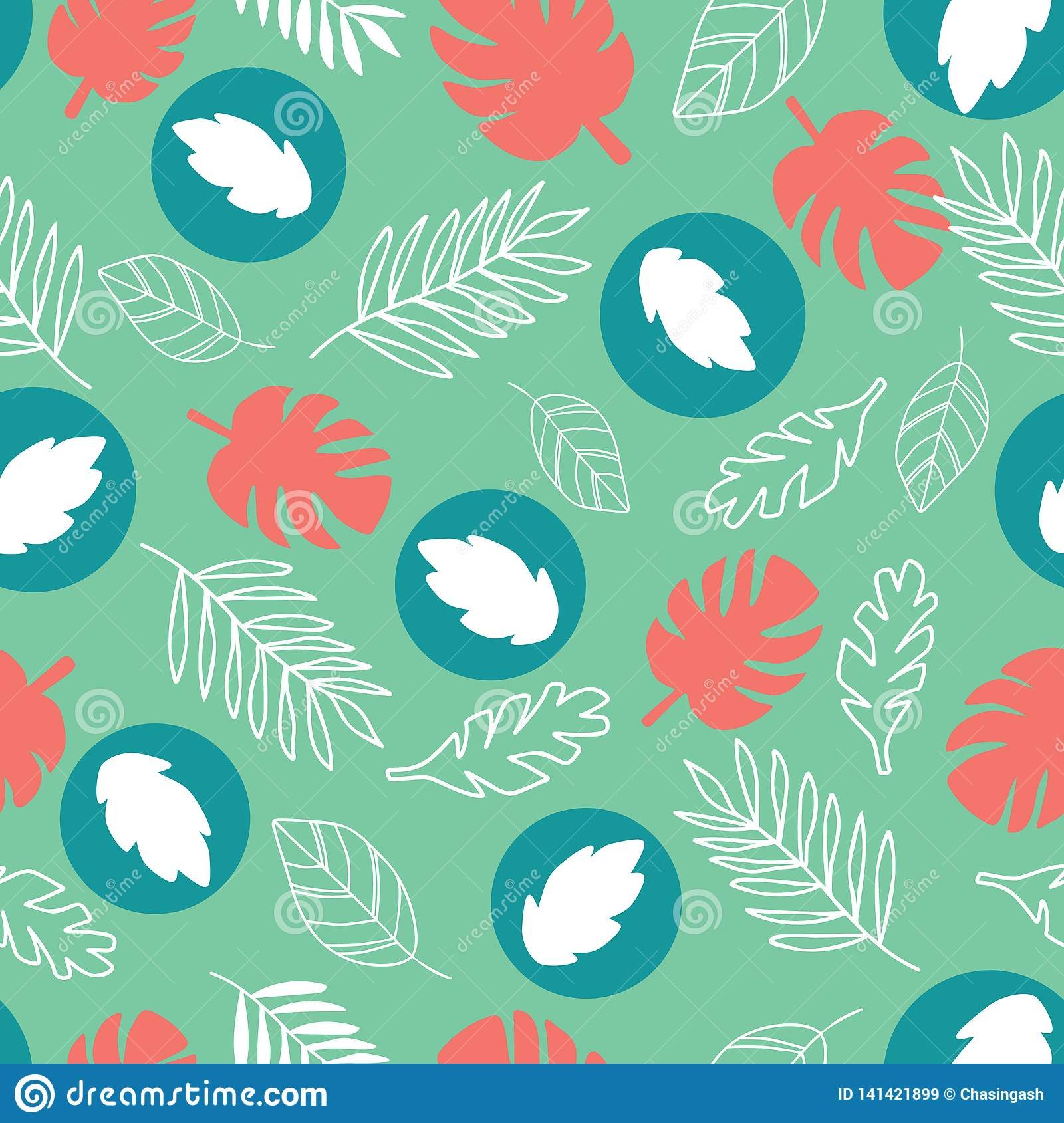 Exotic leaves on a green background. Tropical pattern with banana leaves.