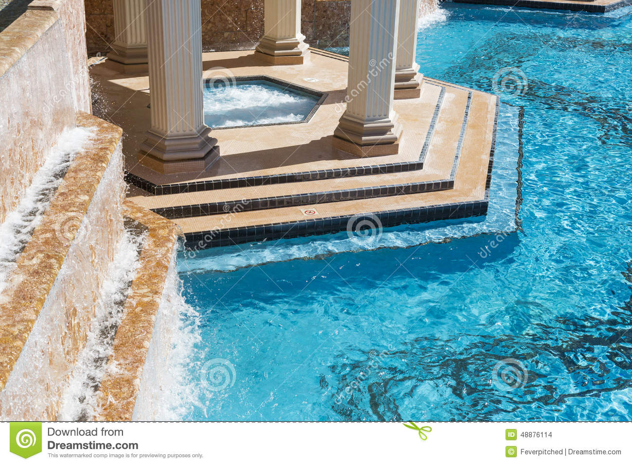 Exotic Luxury Swimming Pool And Hot Tub Abstract Stock