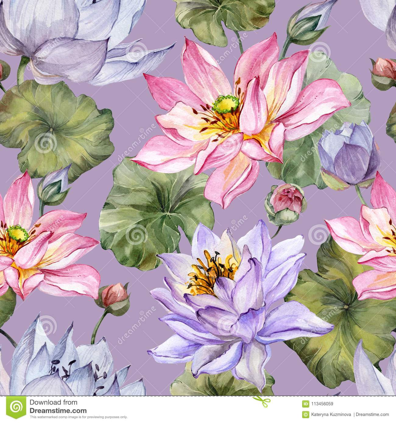 Exotic Pink And Purple Lotus Flowers With Leaves On Lilac Background