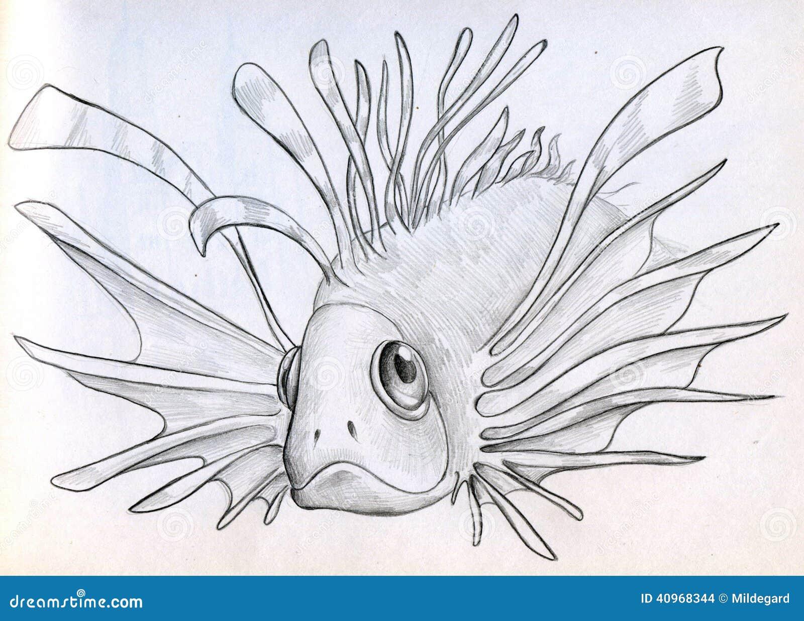 Exotic poisonous fish sketch