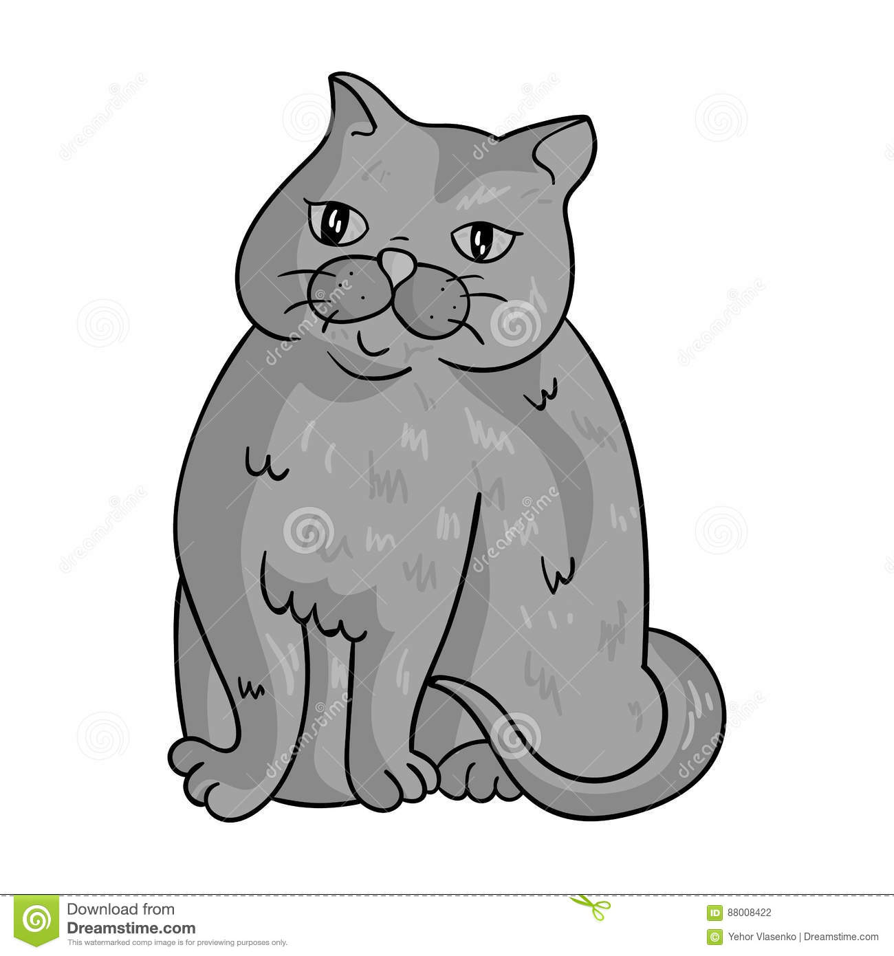 Exotic Shorthair Icon In Monochrome Style Isolated On White