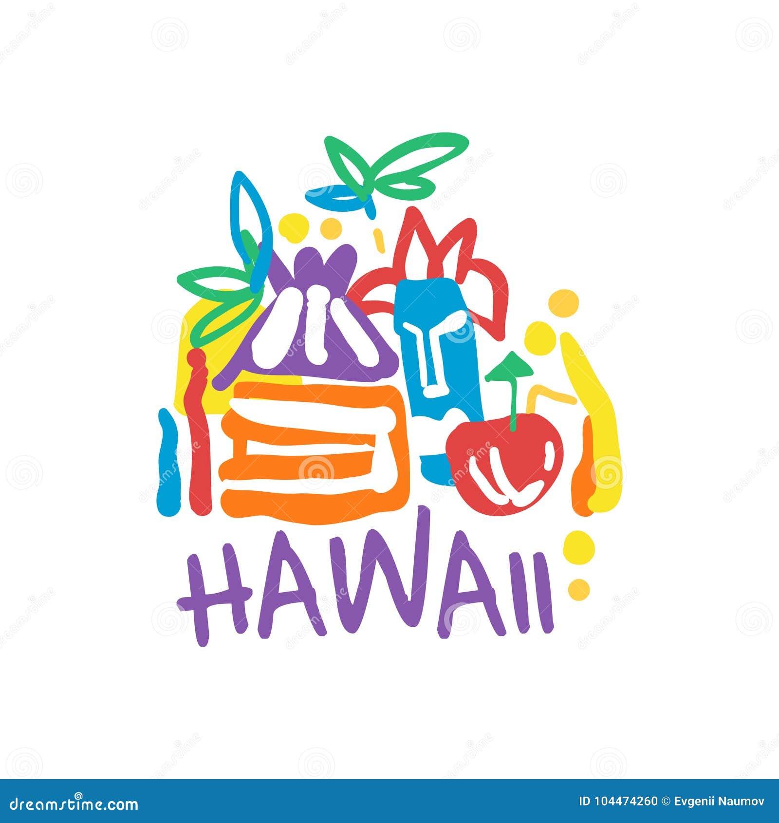 Exotic Summer Vacation Logo Of Hawaii Beach Stock Vector