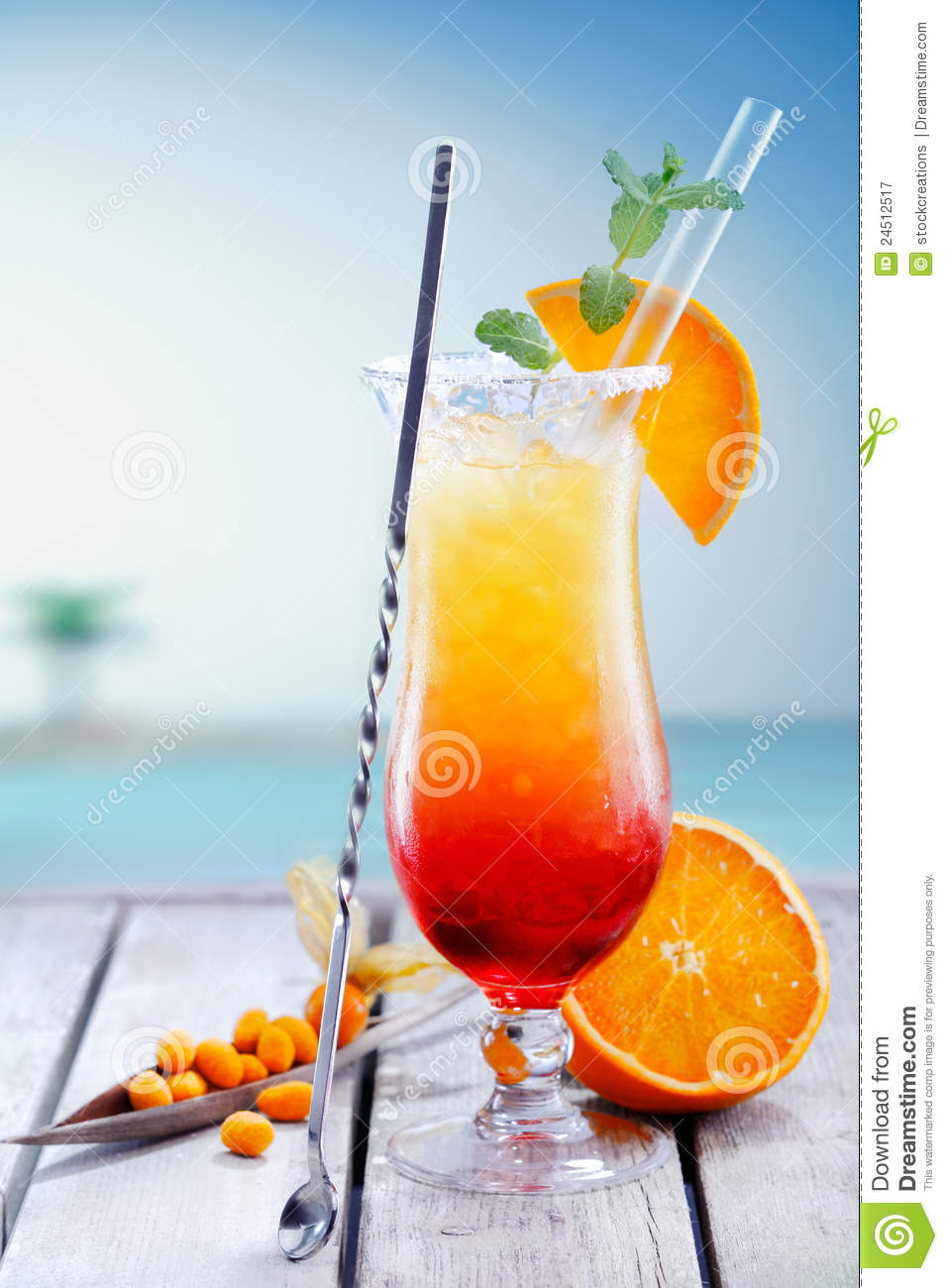 Exotic tequila sunrise cocktail stock image image 24512517 for Best tequila for tequila sunrise