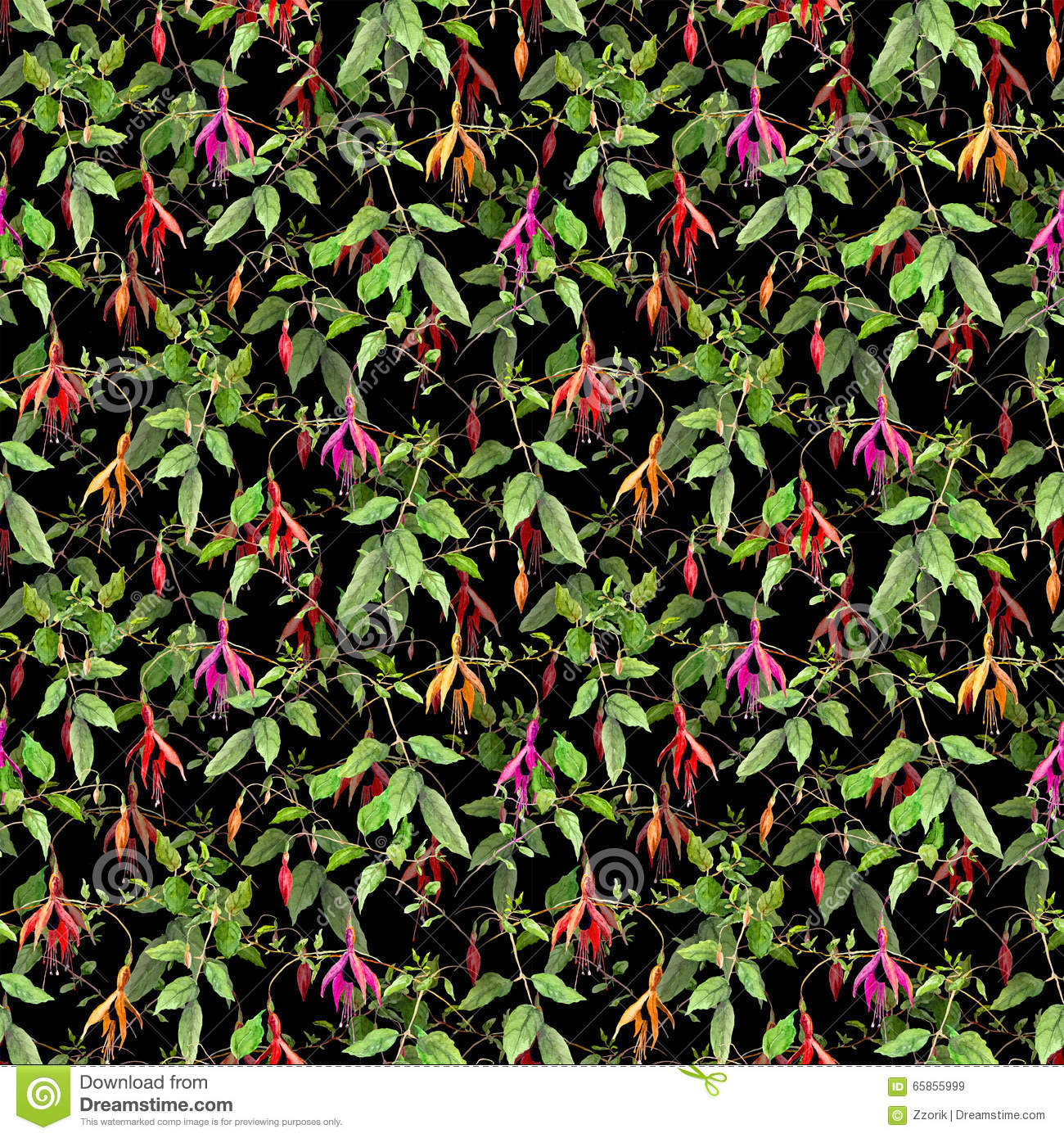 Exotic Tropical Flowers On Black Background. Seamless Floral Pattern ...