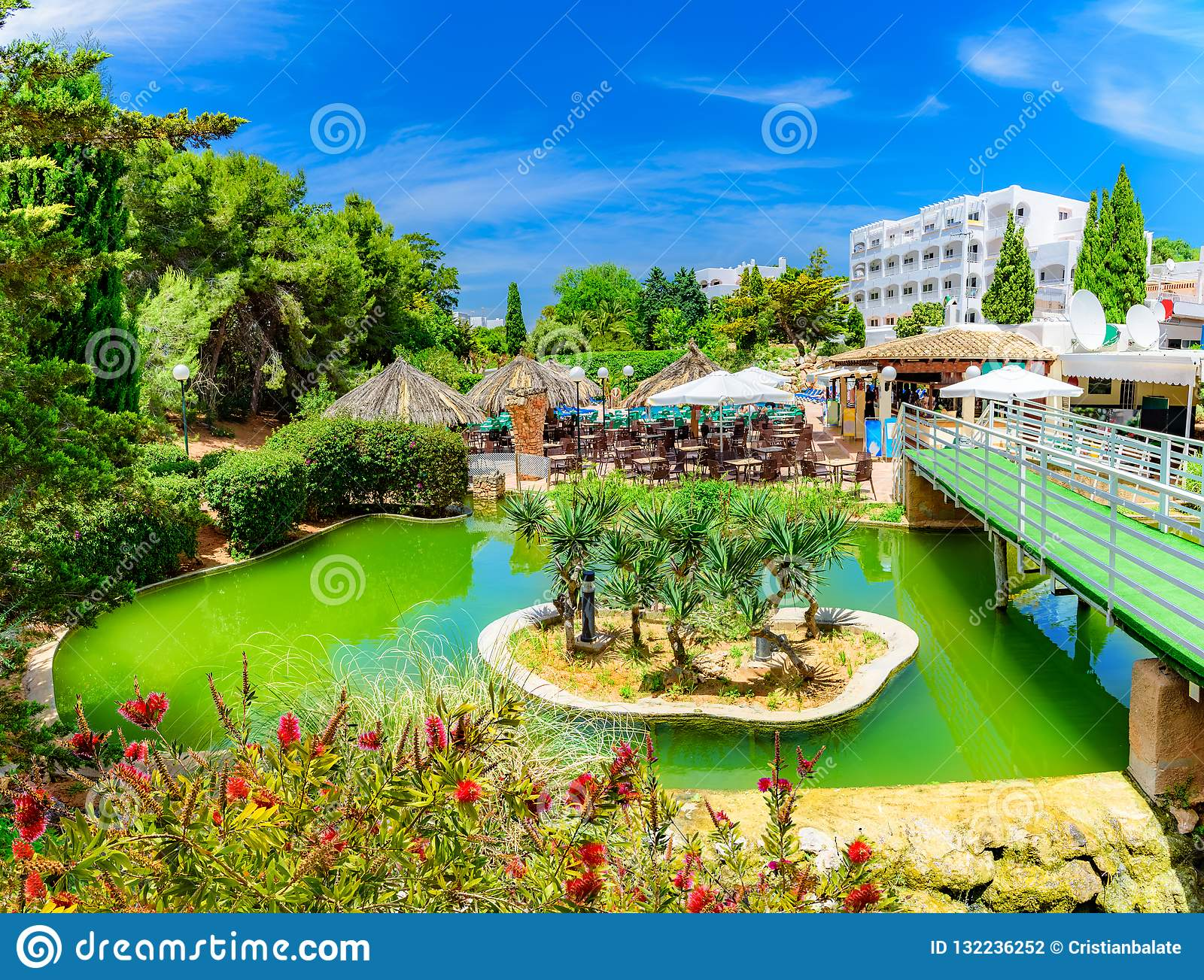 Exotic Tropical Garden In Palma De Mallorca Island Spain Stock Photo Image Of Restaurant Scene 132236252
