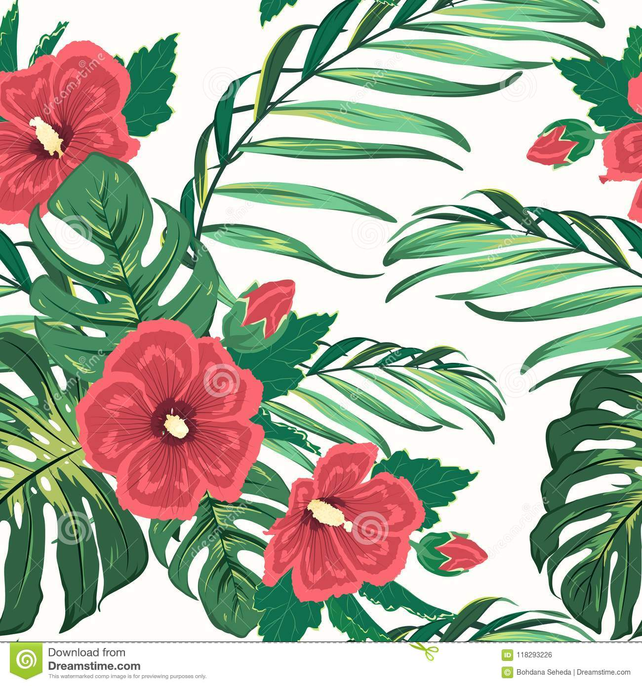 Exotic Tropical Floral Greenery Seamless Pattern Stock